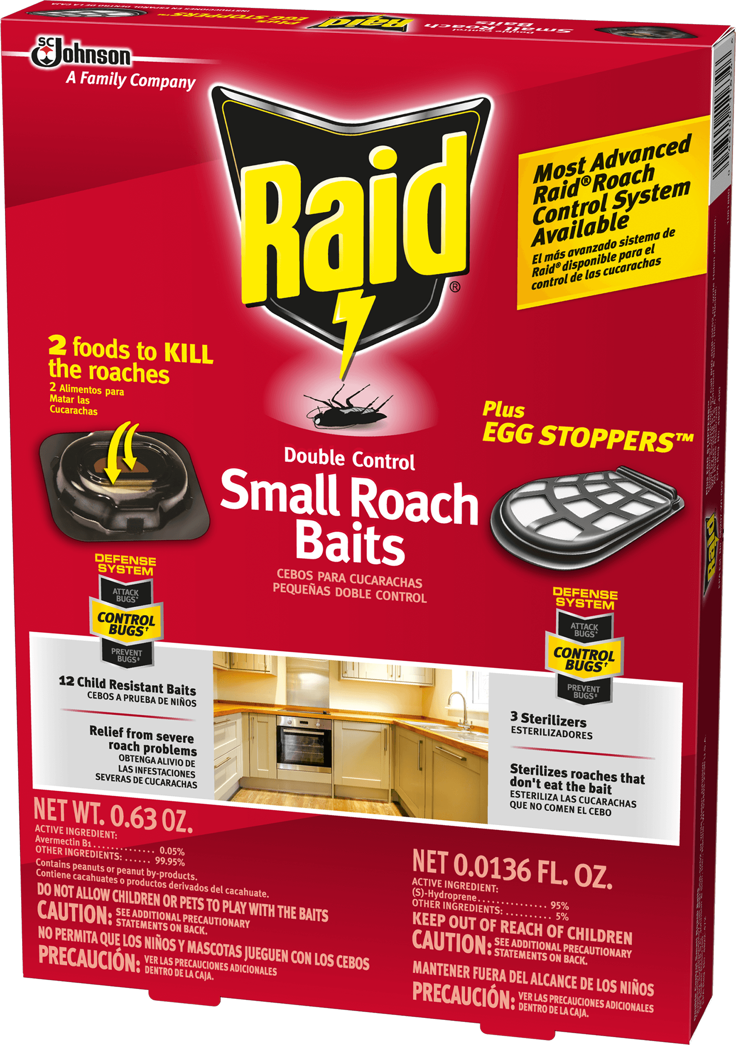 Raid® Double Control Small Roach Baits and Raid® Plus Egg Stoppers™